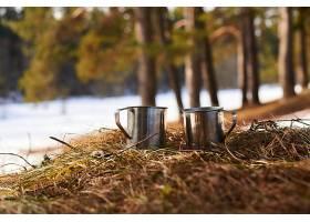 几个金属杯和茶放在森林外的春天草地上_1089881101