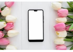 屏幕手机准备用郁金香花朵模拟_391306401