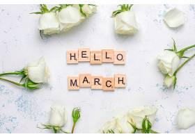 带有白色玫瑰和鲜花的春卡俯瞰_787431301