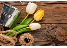 带绳和桶的郁金香花束_1247936101