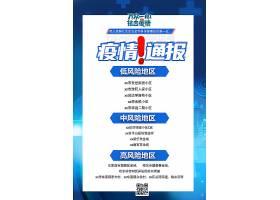 蓝色时尚疫情通报海报国庆海报,美食海报,疫情海报,电影海报,招生