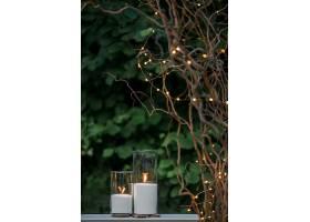 高高的花瓶里的白色蜡烛插在干枯的树枝下_123413701
