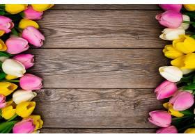 用郁金香在木头上做的漂亮构图_648798701