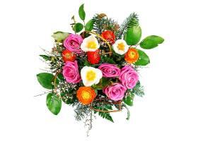 白色空间上孤立的美丽的五颜六色的鲜花花束_1058579501