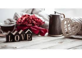 情人节的浪漫构图上面装饰着爱和装饰的细_1233960801