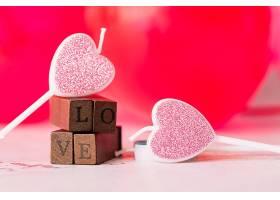 装饰性的蜡烛心的象征爱情的象征木棒_343467001