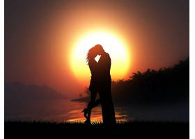 在热带日落景观的衬托下一对恩爱的夫妇的_316591501