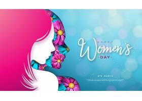 3月8日三八妇女节贺卡设计有年轻女子的_71062300201