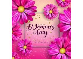 3月8日三八妇女节庆祝设计带鲜花和印刷_72304550201