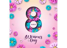 3月8日三八妇女节快乐鲜花贺卡_71103730201