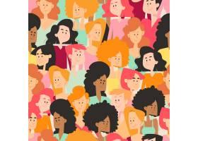拥挤的空间有单独的女性面孔_67220860101