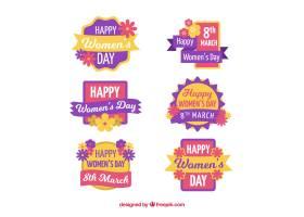 收集平面设计的妇女节徽章_16500440101