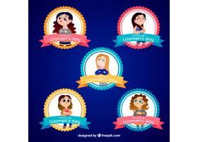 收集平面设计的妇女节徽章_16500450101