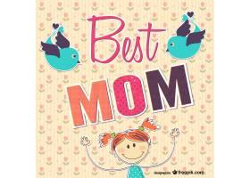最好的妈妈卡片有手绘的女孩和小鸟_7148780101