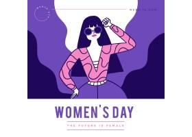 平坦的国际妇女节插图_124262200101