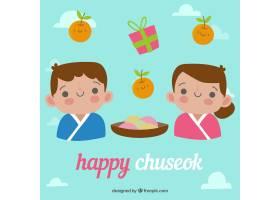 平面设计的可爱的Chuseok构图_25957380101