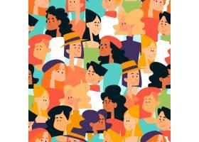 人群中女性面孔的无缝图案_67220880101