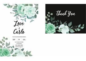 一张雅致的绿色植物婚宴邀请卡_125130760101