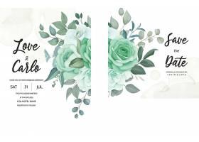 一张雅致的绿色植物婚宴邀请卡_125130780101