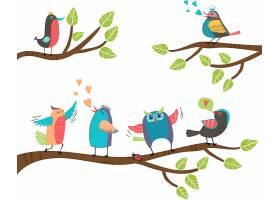 一组可爱的五颜六色的卡通小鸟栖息在树枝上_107034740101