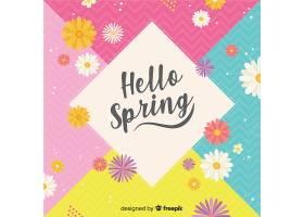 五颜六色的你好春天的背景_39521070101