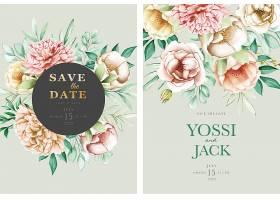 印有漂亮鲜花的婚礼邀请卡_126484510101