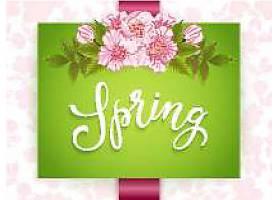 印有粉红色花朵的春天绿卡_106158240101