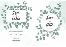 印有绿叶桉叶的婚礼邀请卡_125130840101