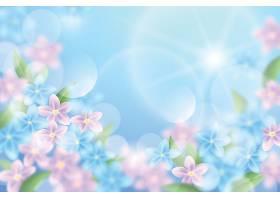 天空和粉色的花朵春天背景