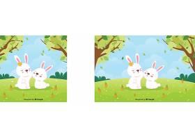 手绘兔子弹簧背景_38104020101