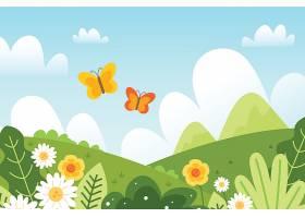 手绘可爱的春天风景画_121268810102