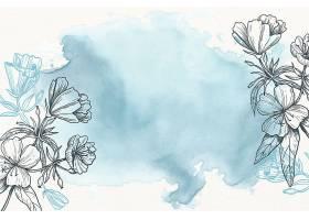 蓝色粉色粉笔手绘花卉背景_89043420101