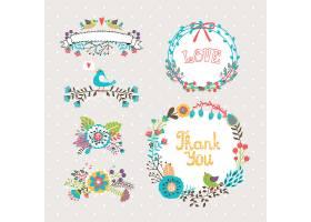 请柬和贺卡用矢量手绘图形鲜花和花圈_107035320101