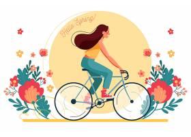 骑自行车的女子弹簧背景_122294710101