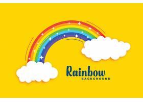 黄色背景上有云的彩虹_49524080101