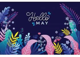 你好五月的背景是鲜花和树叶_79313750102