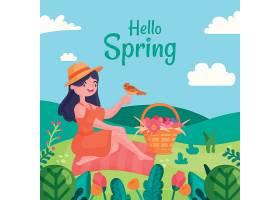 你好春天的概念与女人_70829500101