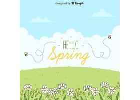 你好春天的背景_40062300102