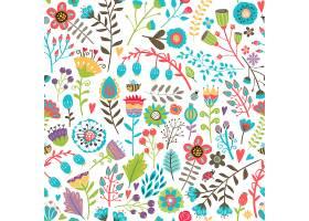 可爱的无缝图案五颜六色的手绘夏花随意散_107035030101