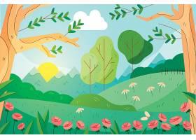 可爱的春色风景画背景_121268610102