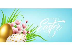 复活节快乐的问候背景复活节彩蛋和春天的_125905910101