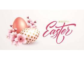 复活节快乐的问候背景复活节彩蛋和春天的_125905940101