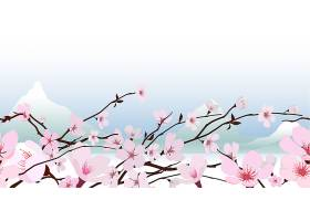 娇艳的粉色鲜春日本盛开的樱花横幅_107056100101