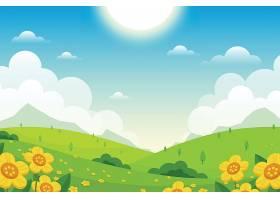 平坦可爱的春天风景画壁纸_121268760101