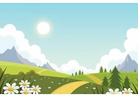 平坦可爱的春日山水背景_121268650101