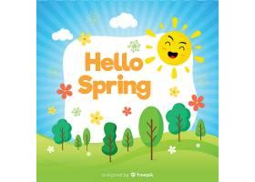 平坦的你好春天的背景_39169090101