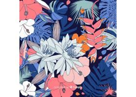 2d风格的热带花卉背景_49547700201