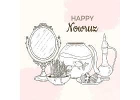 带镜子和鱼缸的手绘快乐诺鲁兹插图_125076330101