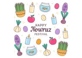 带元素的手绘快乐诺鲁兹插图_125076350101
