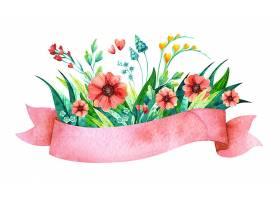 带有鲜花的水彩粉色缎带春季婚礼邀请函的_84559940101